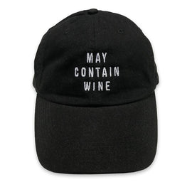 May Contain Wine... EMBROIDERED BlackFunny Dad Hat