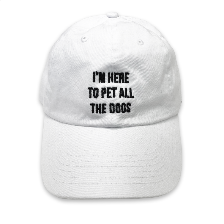 dog mom, dog life, dad hat, funny dad hat, trucker hat, I'm here to pet all the dogs, dog rescue, honeymoon, funny hat, embroidered hat, everfitte, white dad hat, white hat,