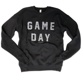 Game Day Black Drop Shoulder Crew Neck Sweatshirt