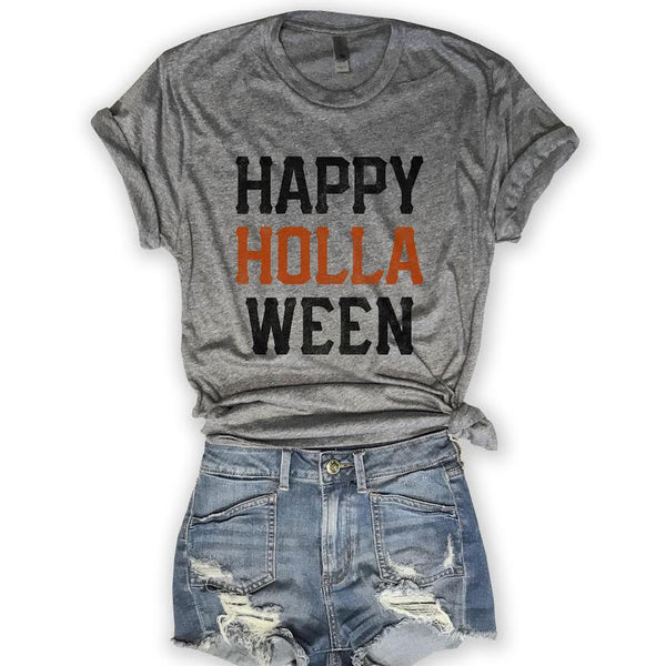 🎃HALLOWEEN 🎃 Happy Holla Ween... Unisex Triblend Tee-Everfitte-[halloween]-[halloween graphic tee]-[funny halloween shirt]-[halloween drinking shirt]-[alcohol halloween shirt]-[funny skeleton shirt]-Everfitte