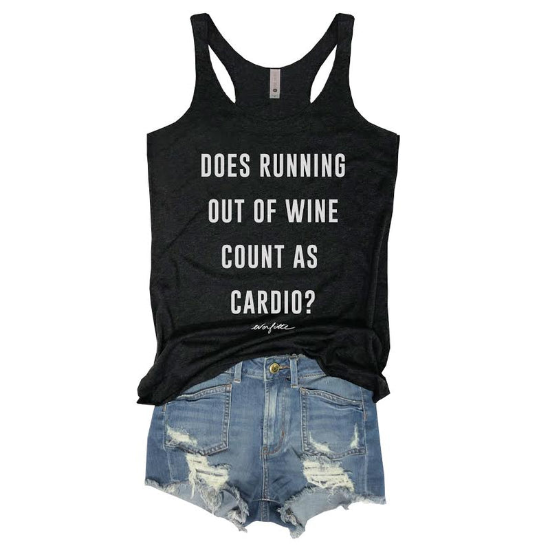 SALE! Does Running Out Of Wine Count As Cardio... Black Racerback tank