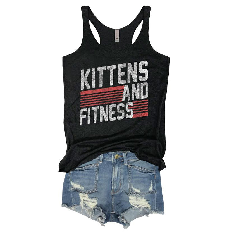 Kittens, Cat lady, Crazy cat lady, kitten tee, vintage, retro, Urban Outfitters, Spiritual gangster, Bodybuilder, bodybuilding, womens, girl, cute workout tank, Peloton, zumba, piyo