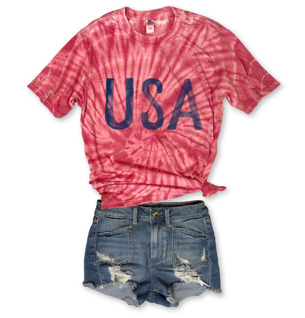 Watercolor USA ... Red  Tie Dye Burnout Tee