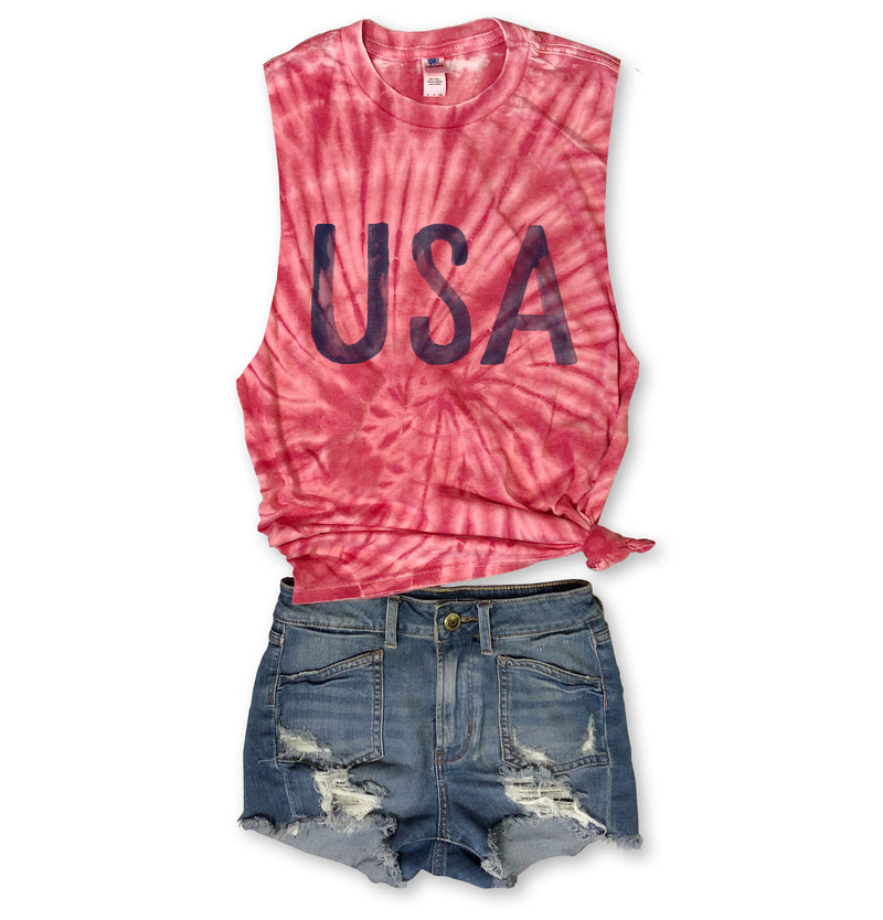 LIMITED!! Watercolor USA ... Red Subtle Super Soft Burnout Tie Dye Muscle-Everfitte-[lululemon]-[chaser]-[athleta]-[spirtual gangster]-[champion]-[graphic tee]-[gym shirt]-[workout tee]-[funny shirt]-[funny tee]-[muscle tee]-Everfitte