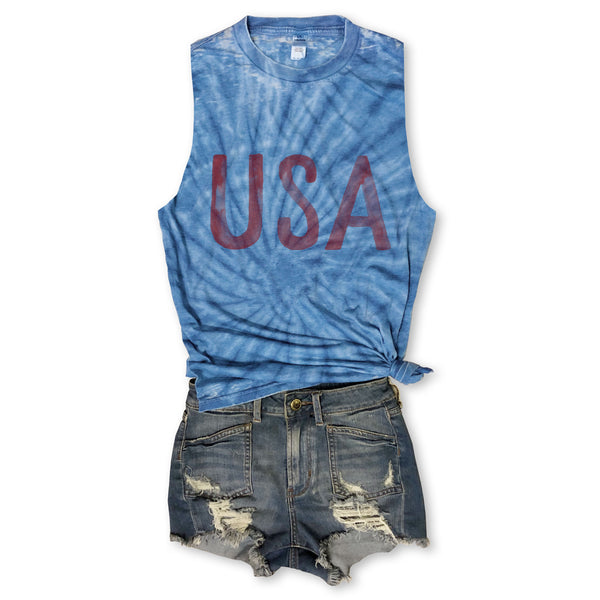 LIMITED! Watercolor USA ...Subtle Burnout Tie Dye Muscle Tee