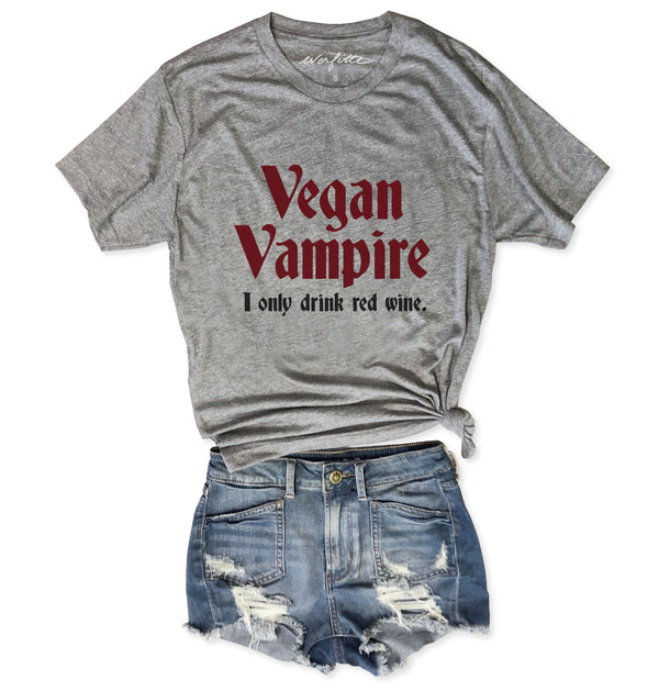 Limited: HALLOWEEN Vegan Vampire I Only Drink Red Wine...Unisex Heather Grey Triblend Tee-Everfitte-[funny family shirt]-[drinking shirts]-[bachelor shirt]-[bachelorette party tees]-[bridal party shirt]-[bridal party tee]-[group drinking tees]-[funny vodka shirt]-[funny tequila tee]-[funny tequila tshirt]-[funny whiskey tshirt]-[funny drinking shirt]-[tequila t-shirt]-[vodka t-shirt]-[whiskey t-shirt]-Everfitte