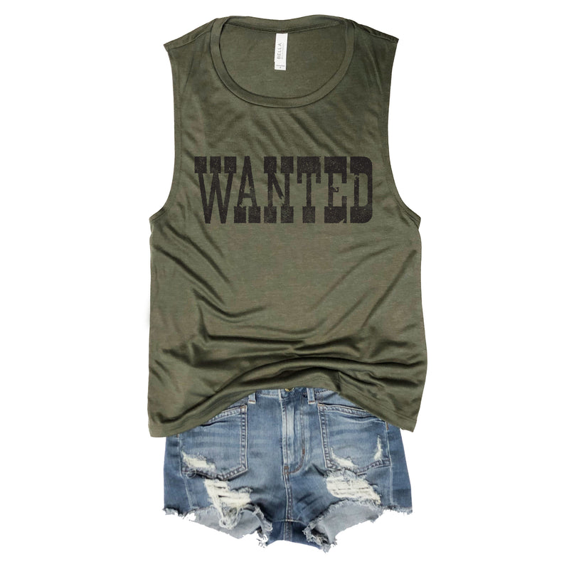 WANTED...Western Festival Army Muscle Tee
