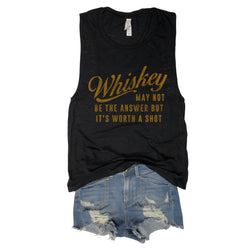Whiskey May Not Be The Answer But It's Worth A Shot ... Funny Triblend Black Muscle Tee-Everfitte-[funny family shirt]-[drinking shirts]-[bachelor shirt]-[bachelorette party tees]-[bridal party shirt]-[bridal party tee]-[group drinking tees]-[funny vodka shirt]-[funny tequila tee]-[funny tequila tshirt]-[funny whiskey tshirt]-[funny drinking shirt]-[tequila t-shirt]-[vodka t-shirt]-[whiskey t-shirt]-Everfitte