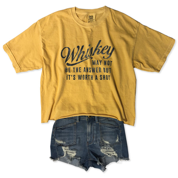Whiskey May Not Be The Answer But It's Worth A Shot ... Slouchy Cotton Long-crop Tee-Everfitte-[funny family shirt]-[drinking shirts]-[bachelor shirt]-[bachelorette party tees]-[bridal party shirt]-[bridal party tee]-[group drinking tees]-[funny vodka shirt]-[funny tequila tee]-[funny tequila tshirt]-[funny whiskey tshirt]-[funny drinking shirt]-[tequila t-shirt]-[vodka t-shirt]-[whiskey t-shirt]-Everfitte