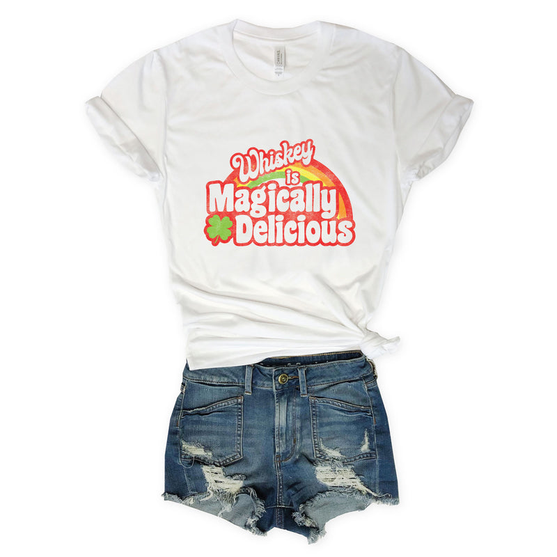 Whiskey is Magically Delicious... ST. PADDY'S DAY Retro White Unisex Tee-Everfitte-[drinking shirt]-[alcohol shirt]-[bachelorette party]-[bridal party]-[funny shirt]-[funny tee]-[shirt with words]-[coffee in the shower]-[lululemon]-[chaser]-Everfitte