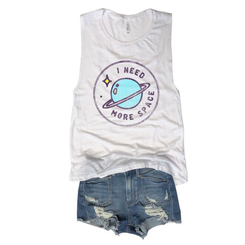 SALE! I Need More Space...White Muscle Tee