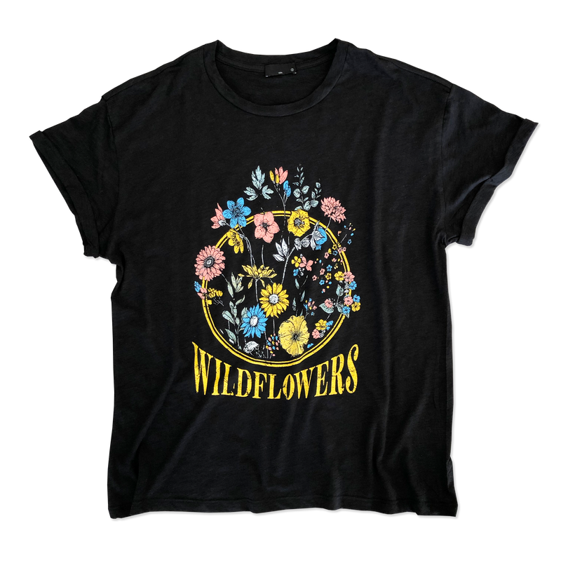 Limited! Wildflowers ... Slouchy Boyfriend Tee with Cuffed Sleeves