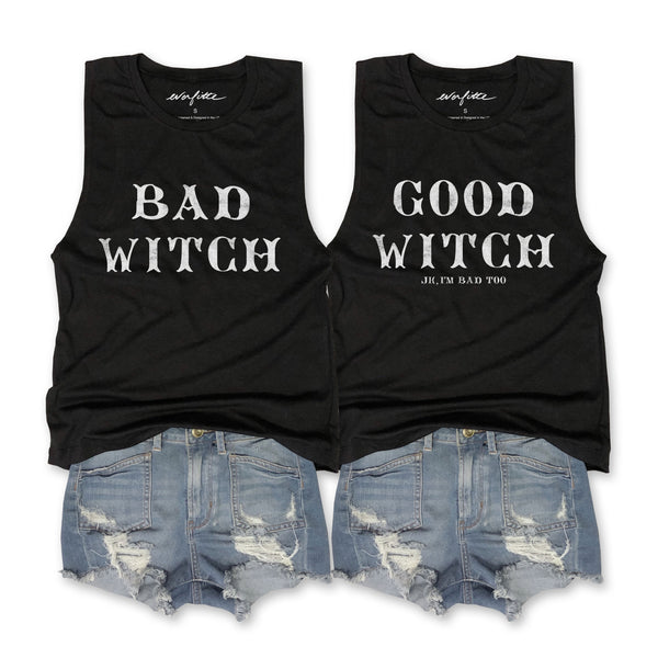 Sale!! HALLOWEEN Good Witch & Bad Witch Jk I'm Bad Too ...Retro Black Muscle Tee-Everfitte-[halloween]-[halloween graphic tee]-[funny halloween shirt]-[halloween drinking shirt]-[alcohol halloween shirt]-[funny skeleton shirt]-Everfitte
