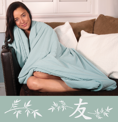 Bamboo Blanket Friendship - Aqua