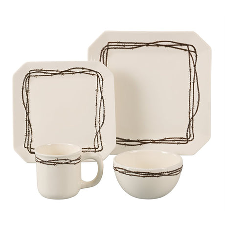 16 PC Barbwire Dinnerware Set