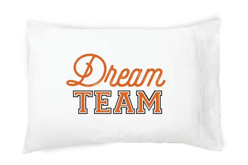 Dream Team - Orange/White pillowcase