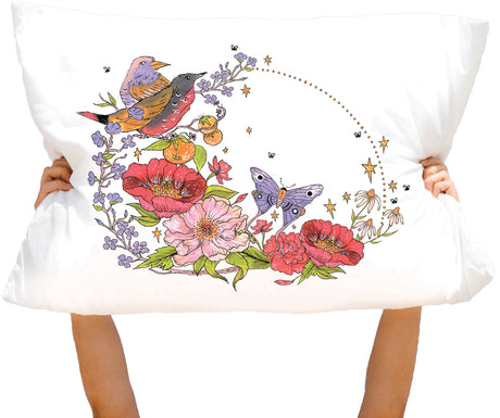 Microfiber Birds and Bees Pillowcase