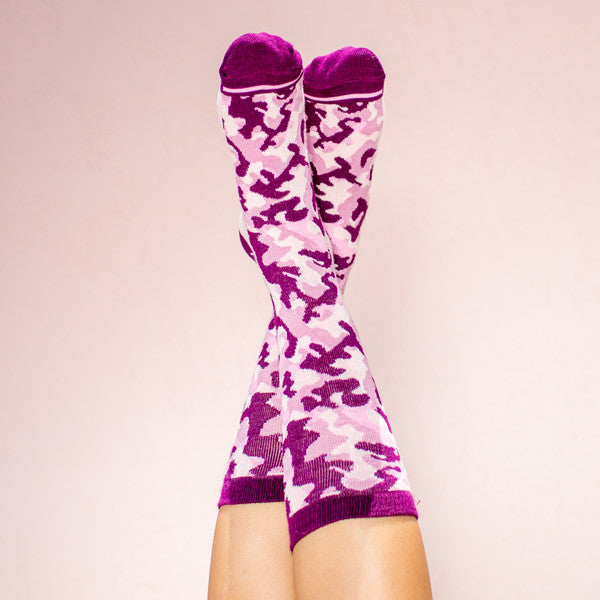 Bamboo socks:Camouflage Pink:one size