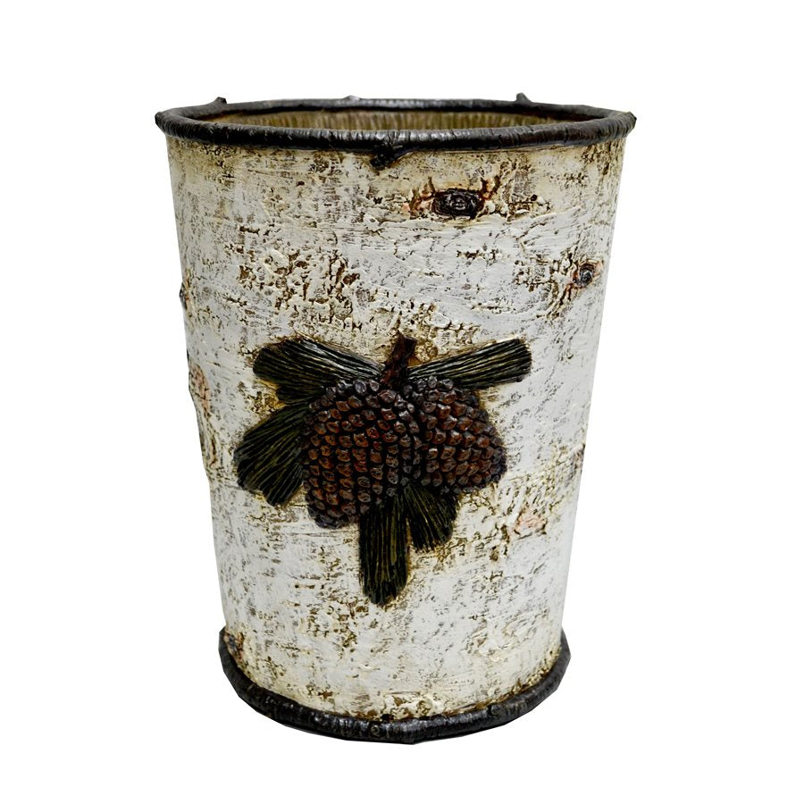 Birch Pinecone Waste Basket