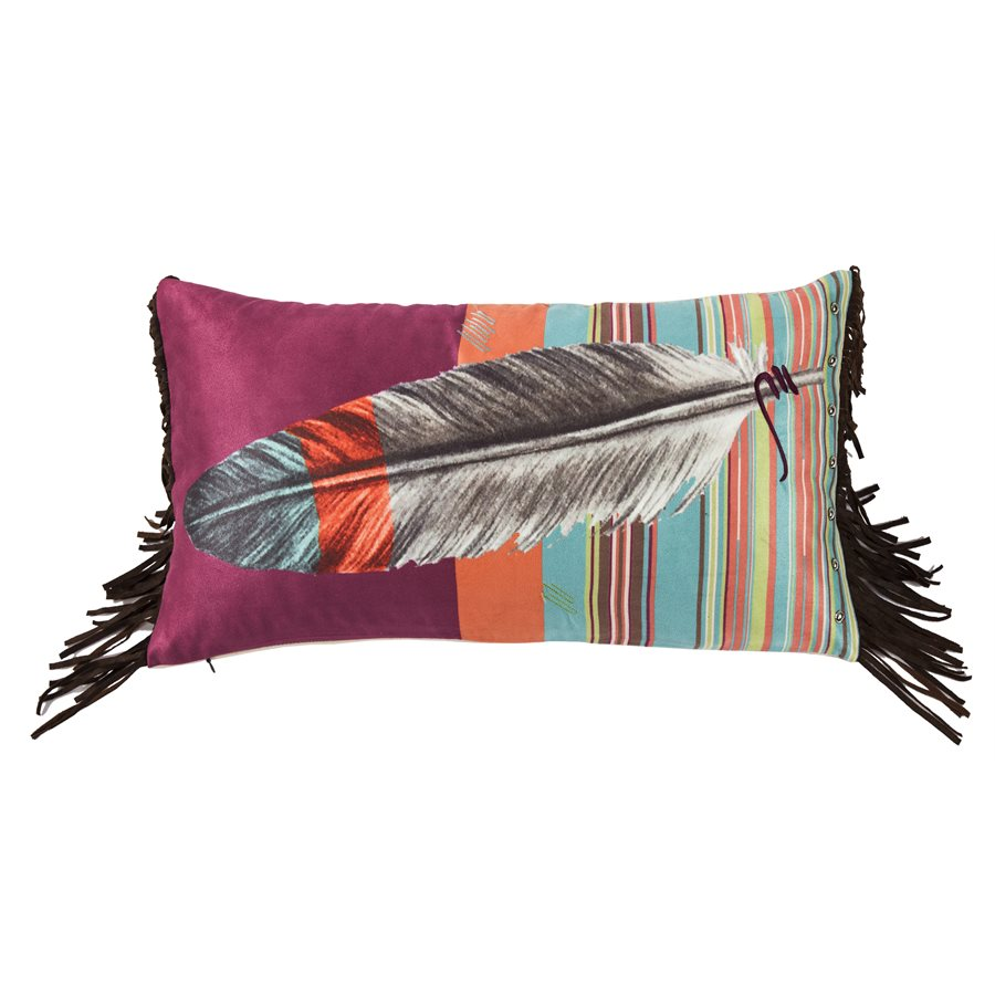 Bold Feather Embroidered Pillow