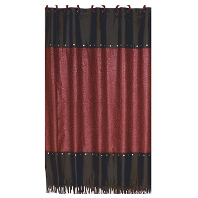 Cheyenne Red Faux Tooled Leather Shower Curtain