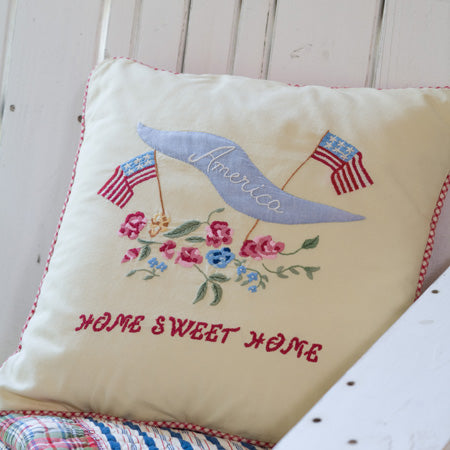 America Embroidered Toss Pillow
