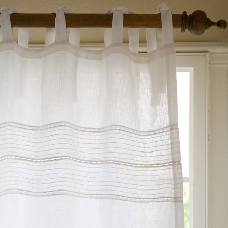 Elisa Linen Voile White Curtain Panel 96