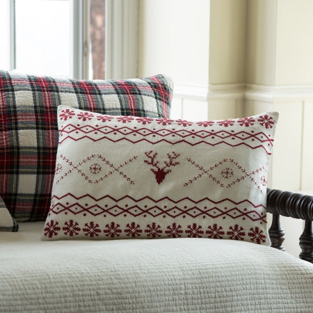 Fair Isle Red Embroidred Pillow | Side Street Bed and Bath