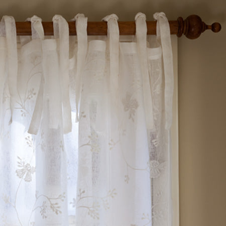 Matilda White Curtain Panel Linen Voile 96''