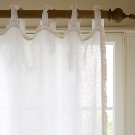 Ruffle White Linen Curtain Panel