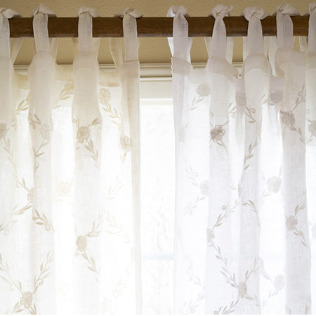 Trellis Cream Curtain Panel Linen Voile 96''