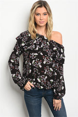 Black Floral Off-The-Shoulder Top - Bohemian Trading Post