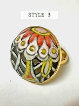 Hand Painted Ceramic Ring - Bohemian Trading Post