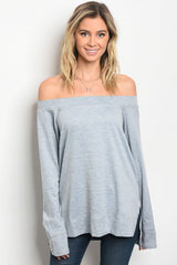 Audrey Long Sleeve Off-The-Shoulder Denim Blue Top - Bohemian Trading Post