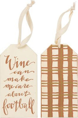 Wine Can Help Me Care About Football Wine Bottle Tag