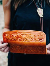 Floral Tooled Genuine Leather Wallet + Tan - Bohemian Trading Post