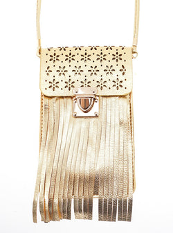 Cora Leatherette Fringe and Floral Cell Phone Bag in Gold