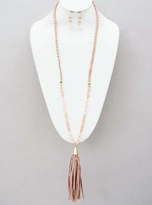 Avalon Tassel Necklace + Earring Set in Peach