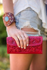 Floral Tooled Genuine Leather Wallet + Red - Bohemian Trading Post