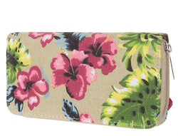 Floral + Pinapple Canvas Wallet + Beige - Bohemian Trading Post