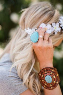 Sacred Statement Ring + Turquoise - Bohemian Trading Post