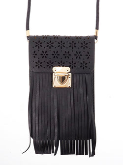 Cora Leatherette Fringe and Floral Cell Phone Bag in Black
