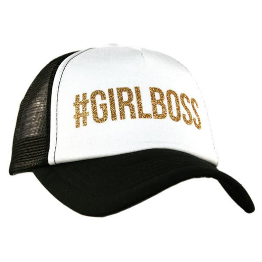 #GIRLBOSS Adjustable Black and White Trucker Hat