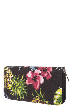 Floral + Pinapple Canvas Wallet + Black - Bohemian Trading Post