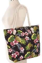 Floral + Pineapple Canvas Shoulder Bag - Bohemian Trading Post