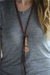 Leather + Metal Shiloh Necklace - Bohemian Trading Post