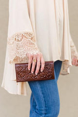 Floral Tooled Genuine Leather Wallet + Brown - Bohemian Trading Post