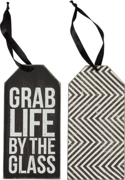 Grab Life by the Glass Wine Bottle Tag