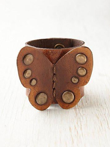 Butterfly Leather Cuff Bracelet - Bohemian Trading Post