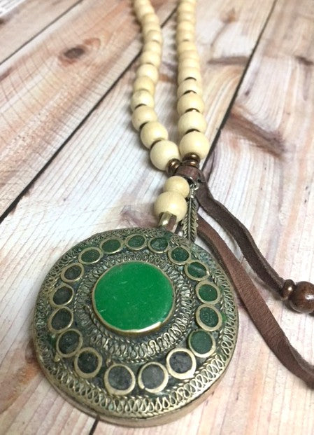 Tibetan Pendant Beaded Necklace - Bohemian Trading Post